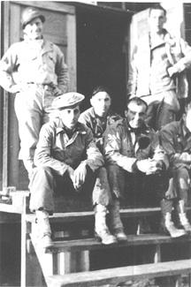 S/Sgt Karametsos with buddies E/253d Inf Cp Van Dorn MS 1944