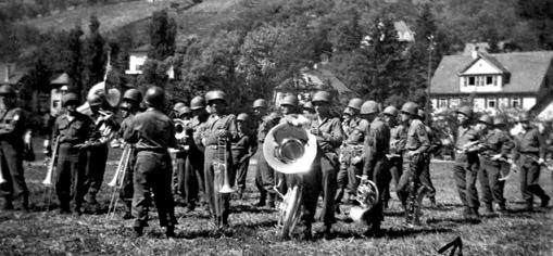 63d Band at Regimental Parade, Kunzelsau Germany 5 Jun 45