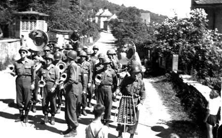 63d Band preparing for Regimental Parade, Kunzelsau, Germany 5 Jun 45