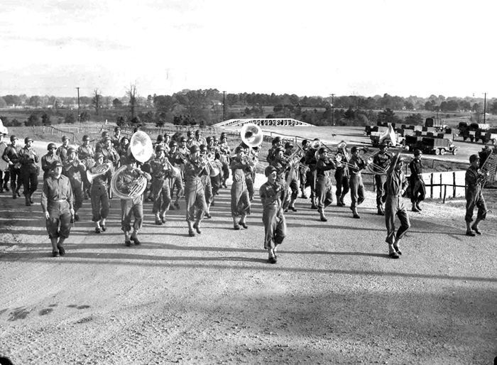 63d Infantry Division Band on parade, Cp Van Dorn MS 1943 or 44
