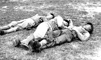63d Band members at rest, Cp Van Dorn, MS 1944