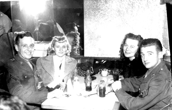 Sopers 63d Band enjoying last evening in NY before shipping out- 1945