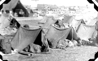 63d Band encampment after landing in Marseille, France 1945
