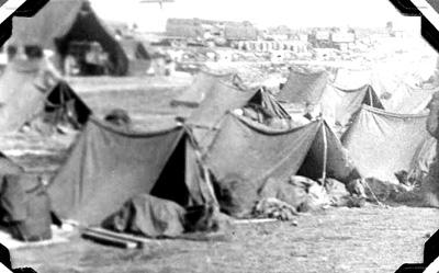 63d Band encampment after landing in Marseille, France 1945