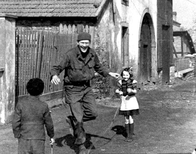 Roane, 63d Band and children in Sarreguemines France 1945