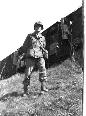T/5 George Soper 63d Band and supply train, Adelsheim, Ger 1945