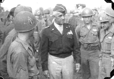 MG Hibbs, CG 63d Inf Div meets with his troops, Bad Mergentheim Germany 1945
