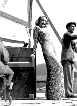 Marlene Dietrich, Actress entertaining 63d Inf Div Troops-Germany 1945