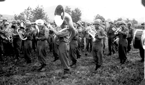63d Band plays for departing soldiers. Bad Mergentheim, Germany 1945