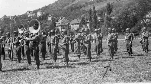 63d Band plays at a Regimental Parade, Kunzelsau, Germany 5 Jun 45