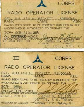 Radio License- Beckett Hq Co 254th Inf