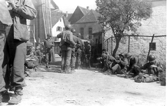 Hq Co 254 Inf troops -Chow Time Germany Apr 45