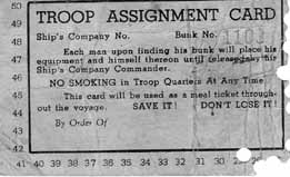 Troop Ship Meal Card- Saturnia Nov-Dec 44