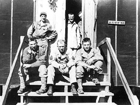 A/253d troops on barracks steps Cp Van Dorn 44