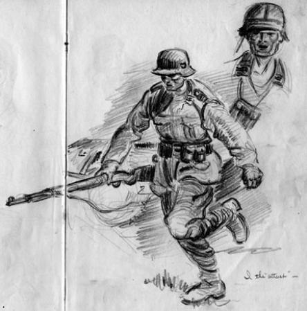 Sketch by T/Sgt Yakas F/254th Infantry while in combat 1945