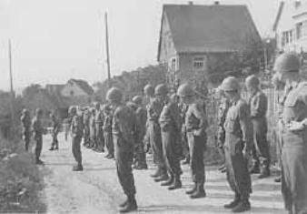Hq 254th Infantry soldiers ready for inspection Creglingen, Germany 45