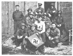 Soldiers with enemy flag
